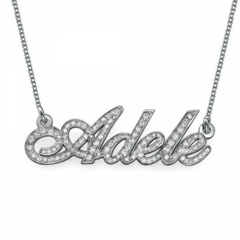 Name Necklace in 925 Sterling Silver with Full Zircon
