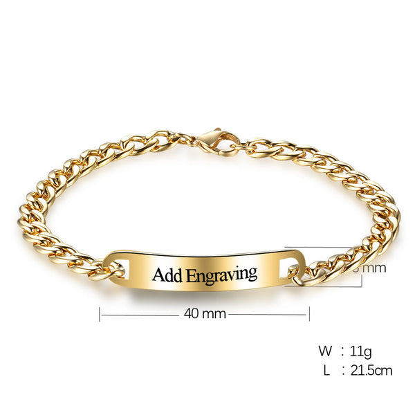 Personalized ID Bracelet with Gold Plating