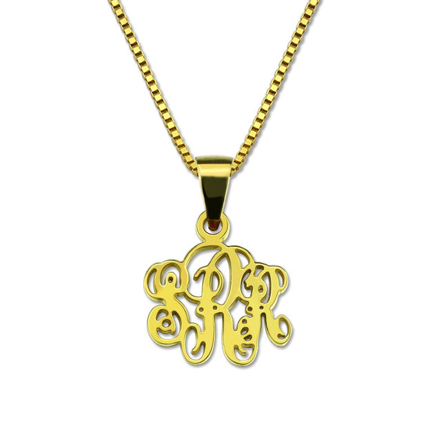 Sterling Silver Cut Out Monogram Necklac