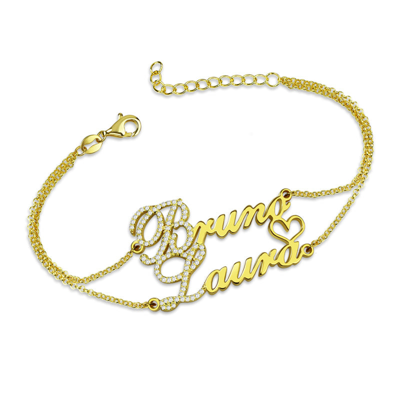 Double Name Bracelet in 14K Gold with Diamonds