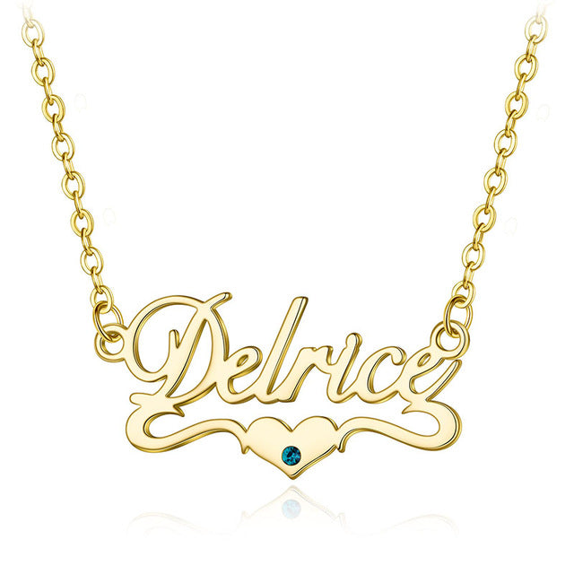 Heart Bottom Style Name Necklace