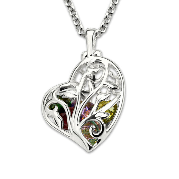 Floating Heart Family Tree Necklace