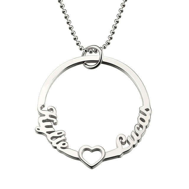Circle Name Pendant Heart Necklace for Couple