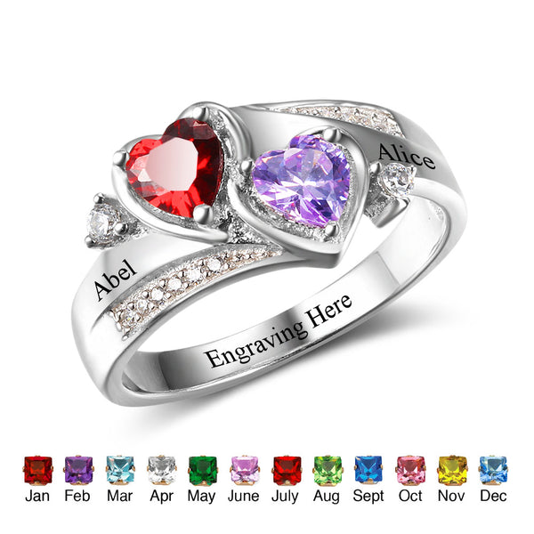 Two Heart Birthstone Name Ring