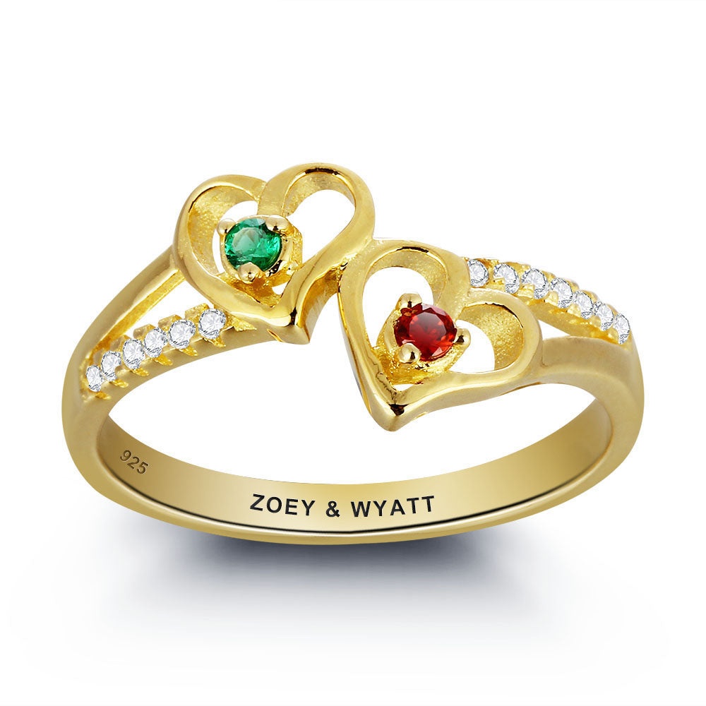 Double Heart Birthstone Ring in Gold Plated