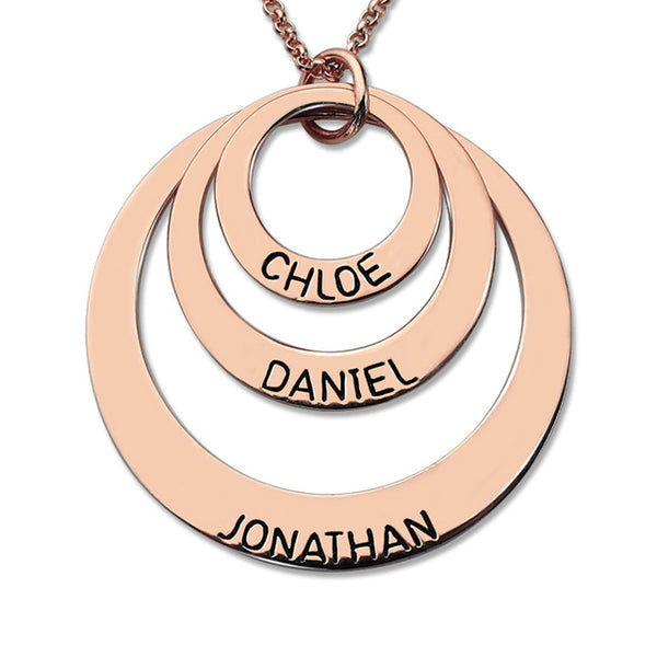 Three Disc Name Necklace - Rose Gold