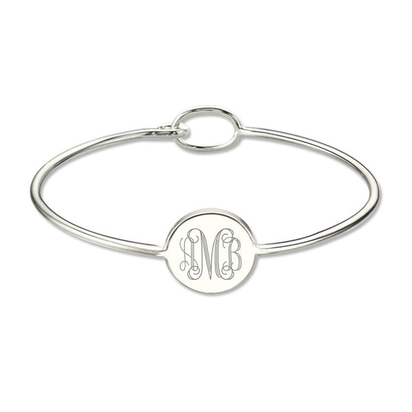 Engravable Monogram Bangle Bracelet in Sterling Silver