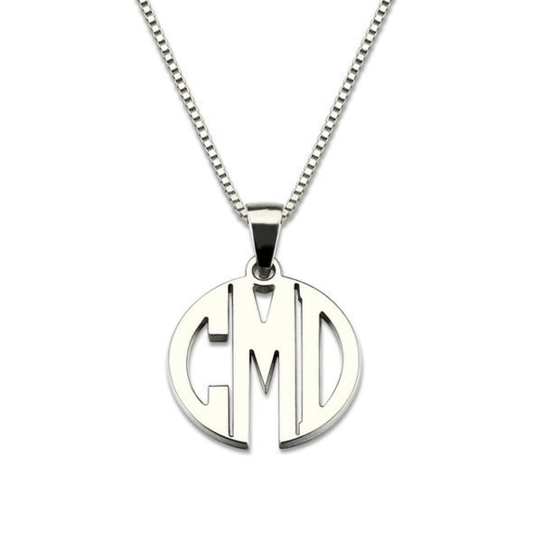 3 initial monogram necklace silver