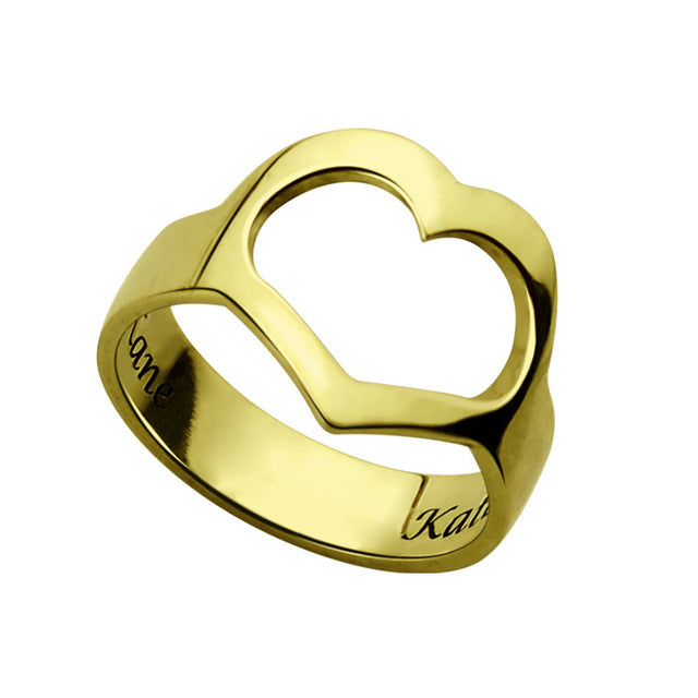 Heart Cut Out Ring in Gold Plating