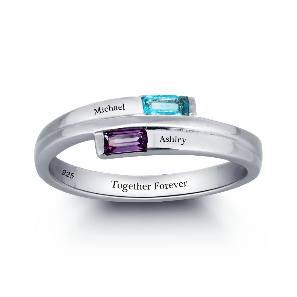 Personalized Mother Daughter Ring in Sterling Silver