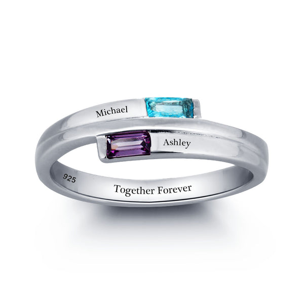 Engraved Two Birthstone Ring in Sterling Silver
