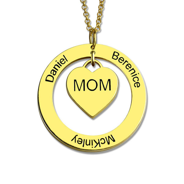 Circle & Heart Nameplate Necklace for Mom
