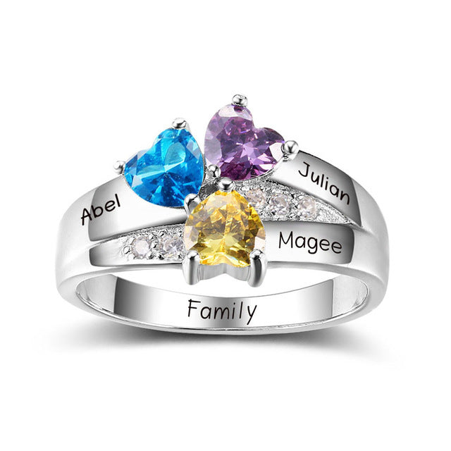 3 Stone Ring with Engraving for Mom