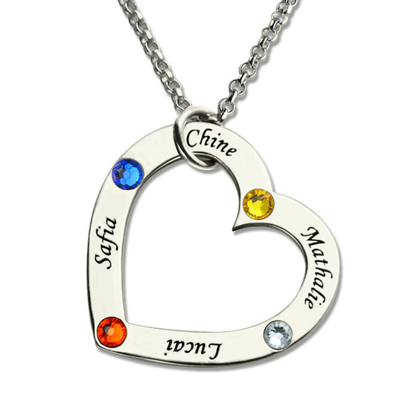 Heart Shaped Birthstone Name Necklace in Sterling Silver