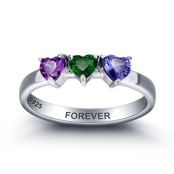 Customized Birthstone Ring in Sterling Silver - 3 Stone