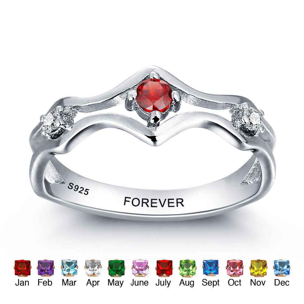 Birthstone Ring with Engravings Inside