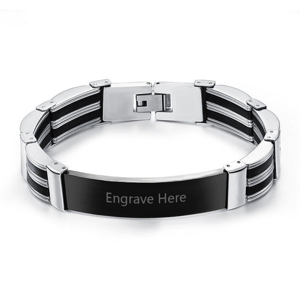 Silicone Stainless Steel Engravable Bracelets For Men