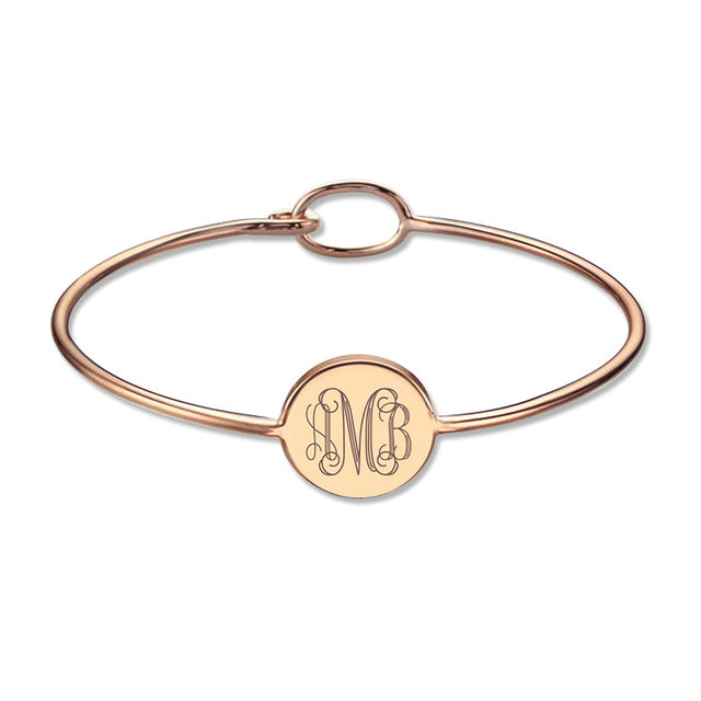 Monogram Bangle Bracelet in Rose Gold Plating