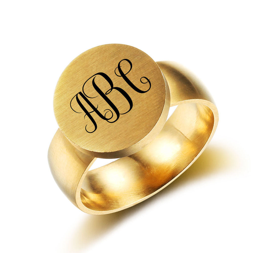 Customized Monogram Stainless Steel Ring