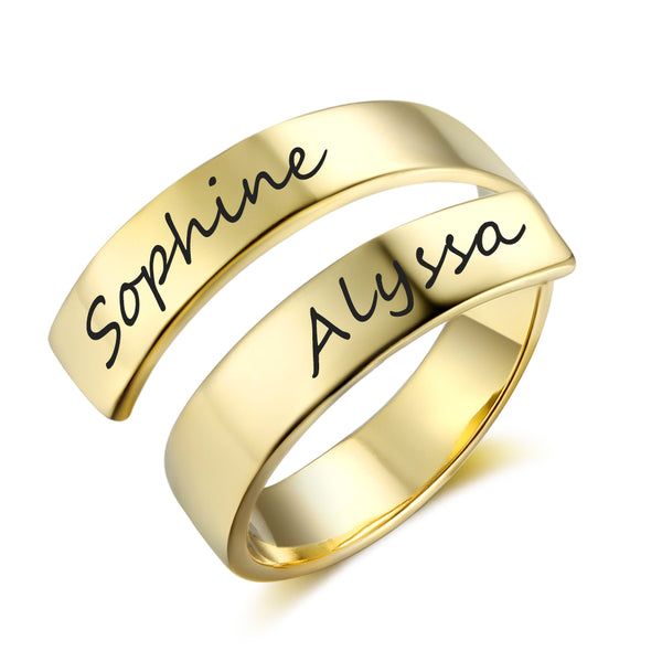 Double Name Ring in Gold Plating