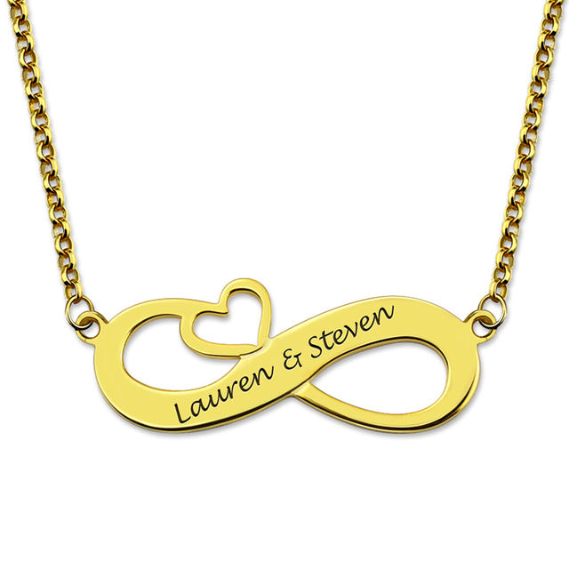 Infinity Heart Necklace for Couples