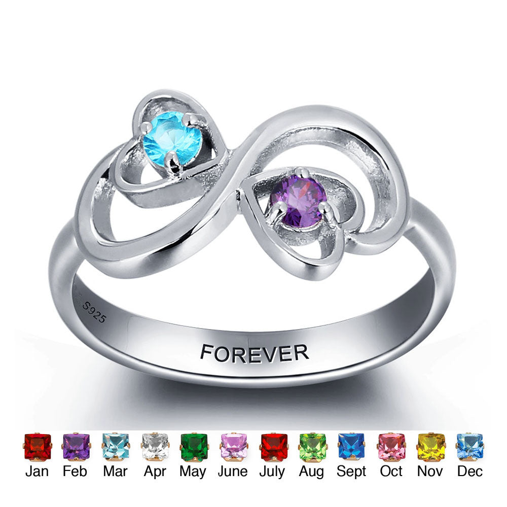 Engraving Ring with Double Birthstones