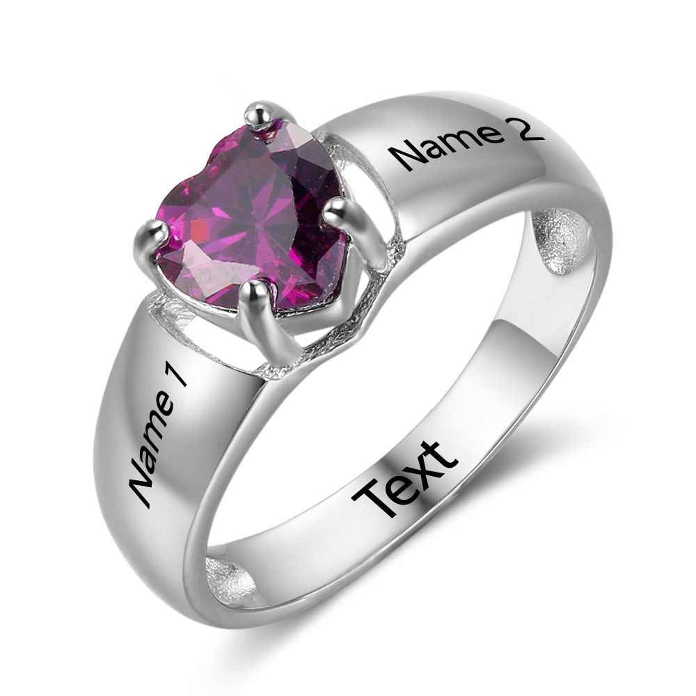 2 Name Ring with Heart Birthstone