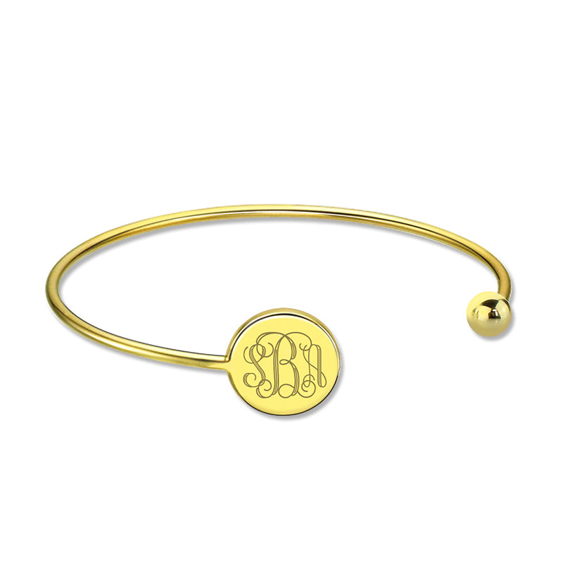 Engravable Monogram Bangle Bracelet with Gold Plating