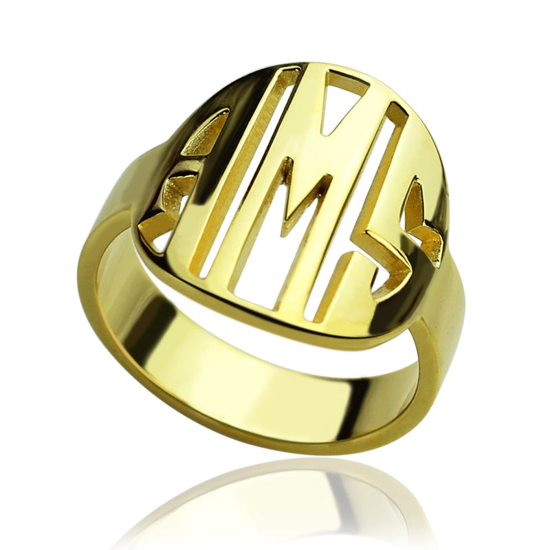 Personalized Three Initial Monogram Ring