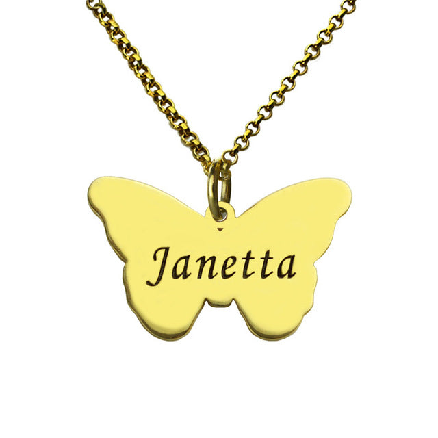 Butterfly pendant with name