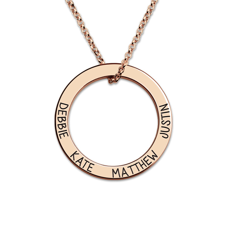 Personalized 4 Name Circle Necklace