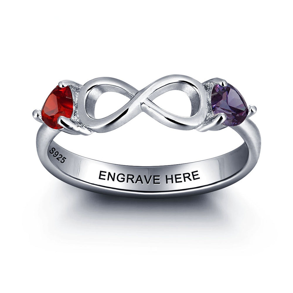 Infinity Ring with Birthstone in Sterling Silver