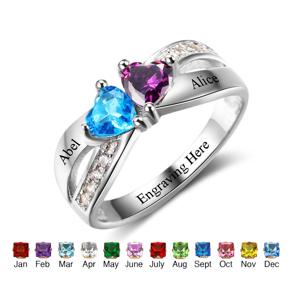 Double Birthstone Ring with Engraving