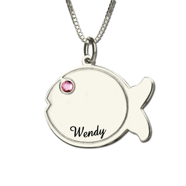Fish Shaped Necklace with Initial Disc