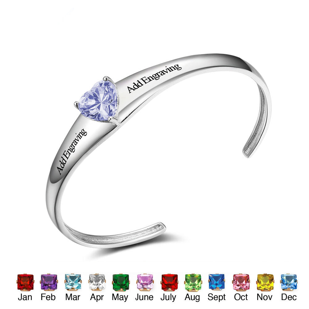 Personalized Engravable Bracelet with Birthstone
