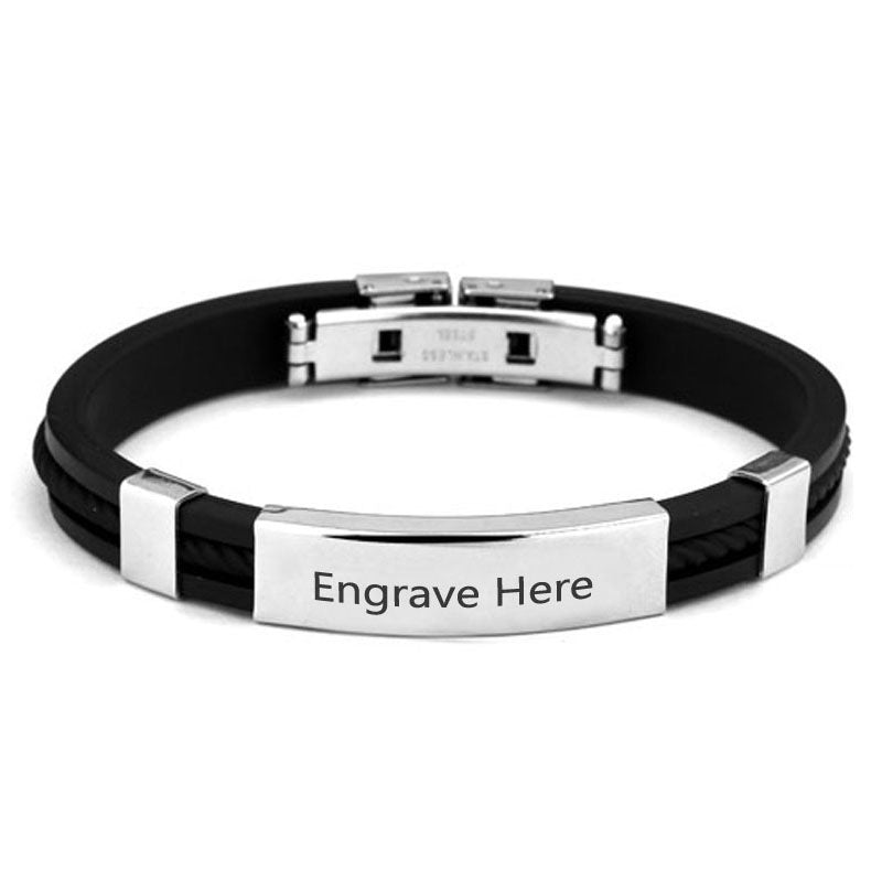 Personalized Engraved Stainless Steel Cuff Bracelet