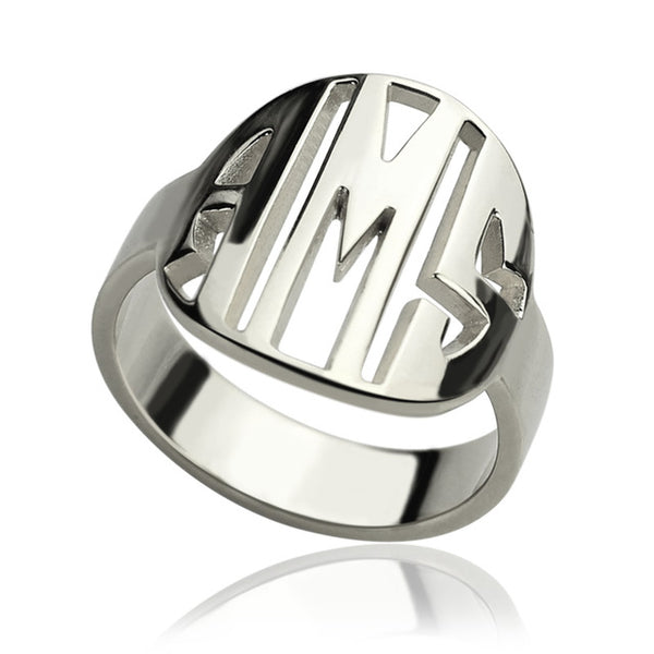 Sterling Silver Personalized 3 Initial Monogram Ring