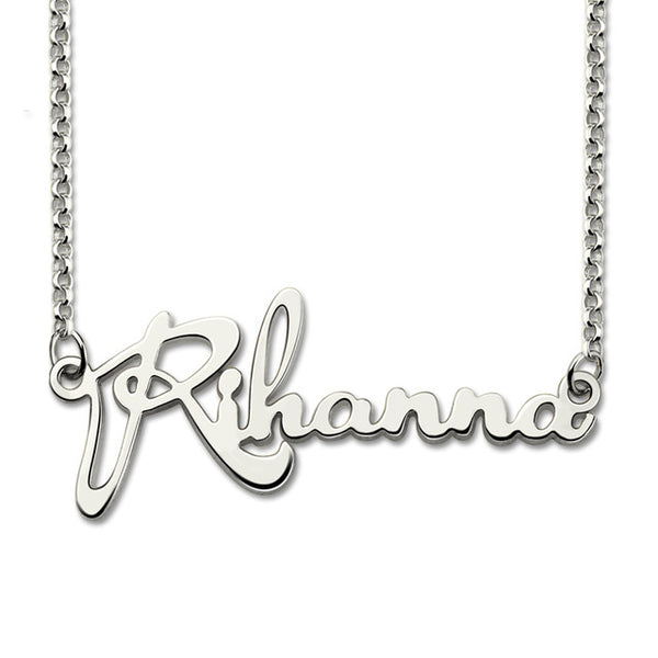 Silver Script Name Necklace