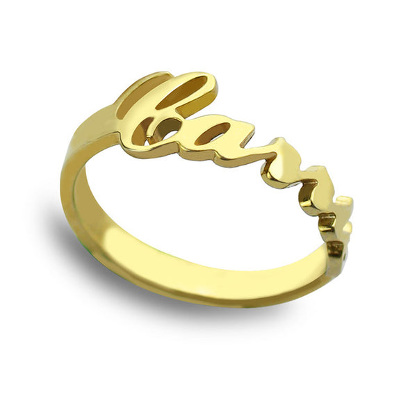Customized Name Ring in Gold Plating