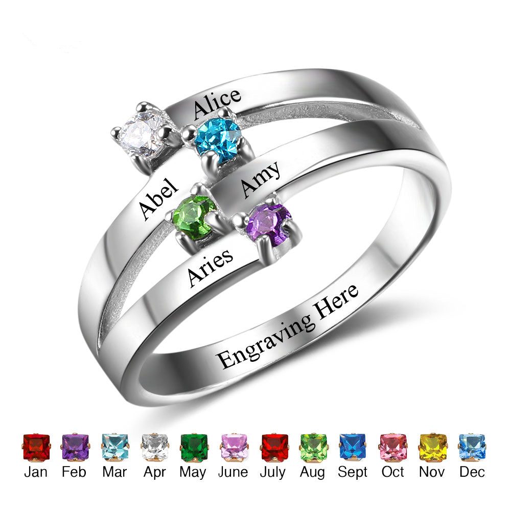 4 Stone Family Ring with Names
