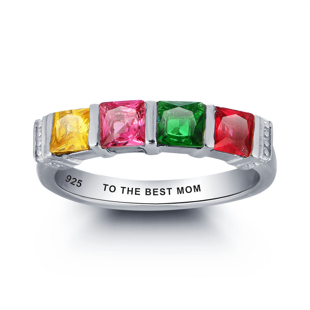 Personalized 4 Stone Ring with Engraving