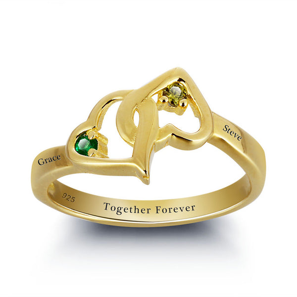 Interlocking Heart Name Ring with Birthstone