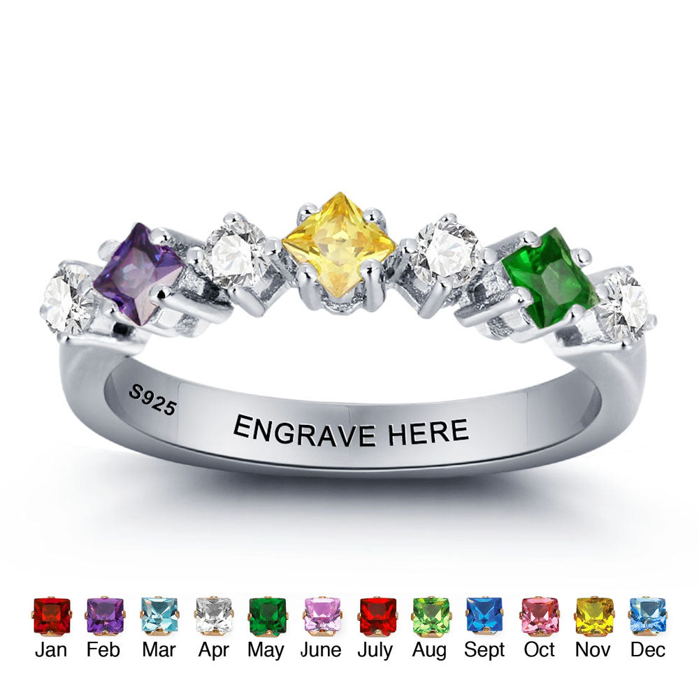 3 Birthstone Ring with Engraving