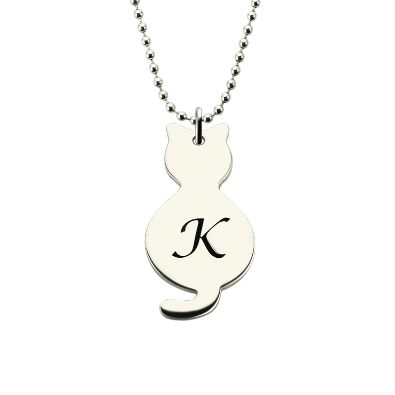 Cat Initial Charm Necklace