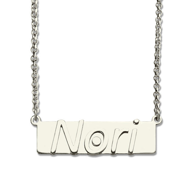 Small Name Plate Necklace in Sterling Silver