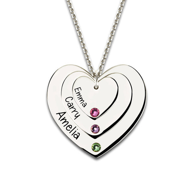 Engraved Family Name Necklace - 3 heart