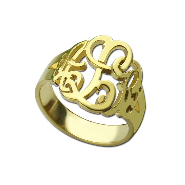Cut Out Monogram Ring in Gold Plating