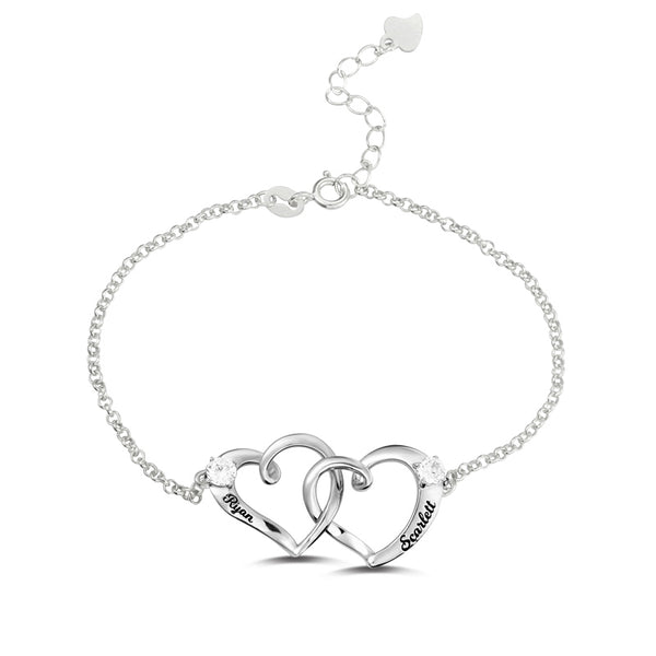 Double Heart Name Bracelet - Sterling Silver