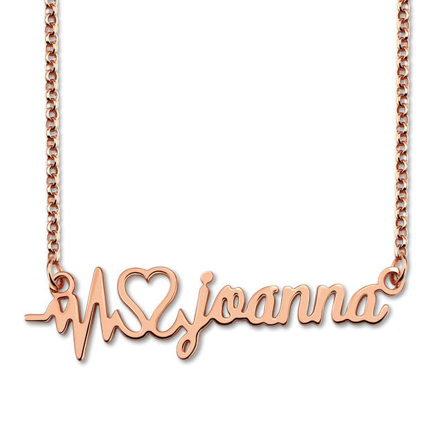 heart beat name necklace