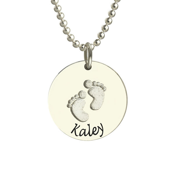Engraved Baby Feet Round shaped Necklace